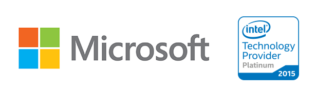 Microsoft logo. Intel Technology Provider Platinum 2015 logo PC