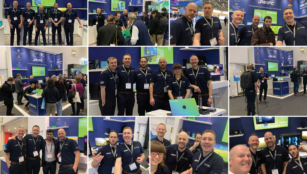 Collage of the VeryPC at Bett 2020