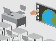 interactive classroom stylised graphic with desks,