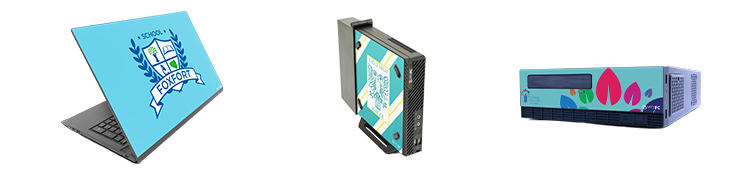 Laptops with custom branded vinyl skins and desktop PCs with custom branded front panels
