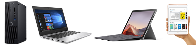 Computing devices by Dell, Microsoft, HP and Apple