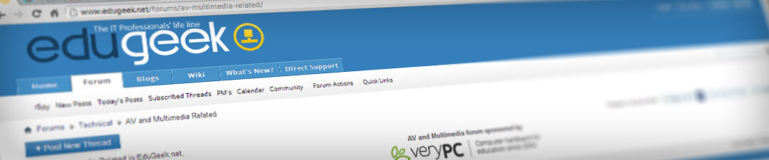 Screen cap of Edugeek website showing VeryPC sponsorship