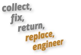 collect, fix, return, replace, engineer