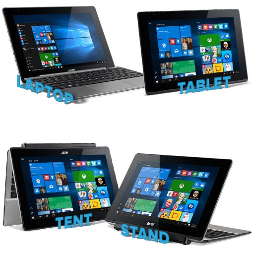 Acer Aspire Switch collage depicting 4 oreintation modes