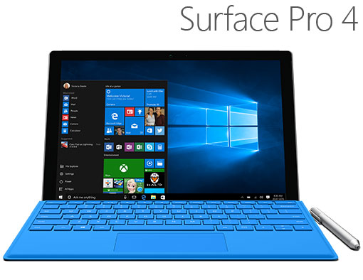 Surface Pro 4 with bright blue Type Cover and Surface Pen