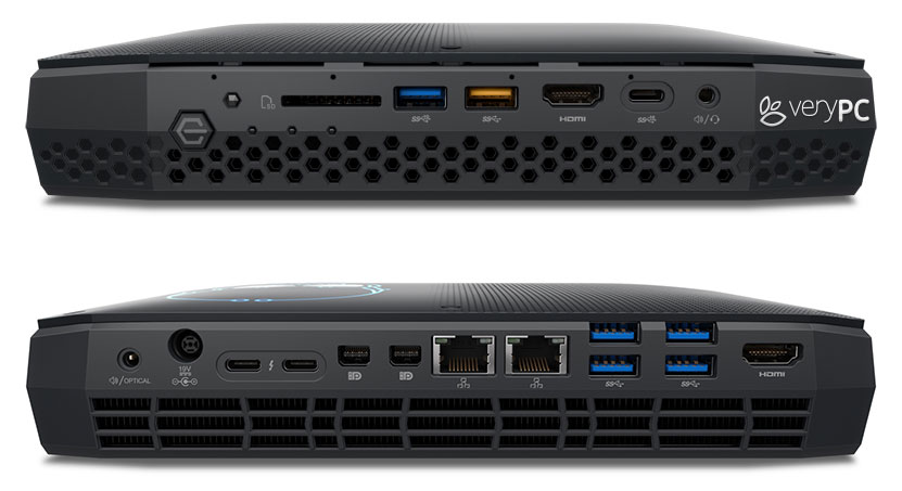 NUC Extreme showing front and back ports