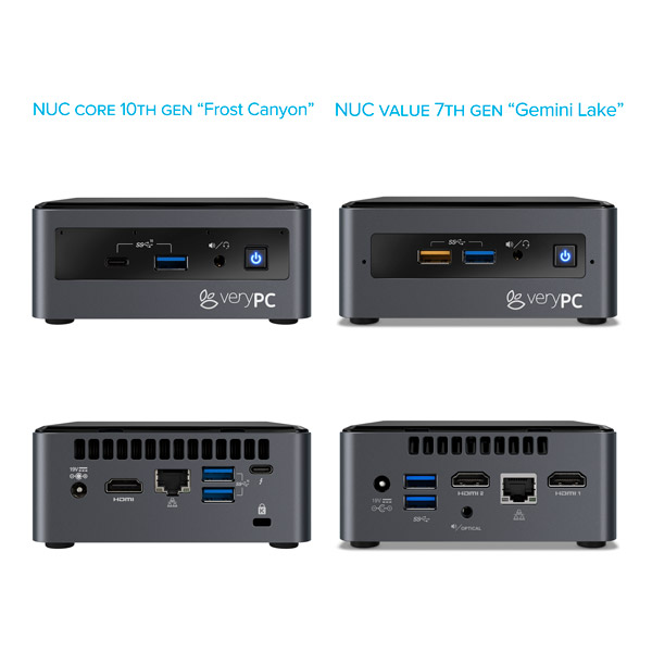NUC models showing front and back ports