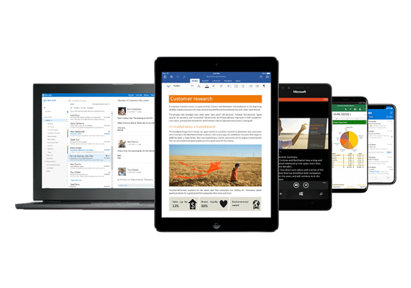 Microsoft 365 laptop, tablet and phone
