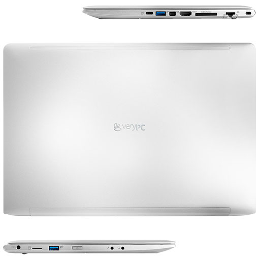 Ultrabook S in plan view showing lid, front and sides