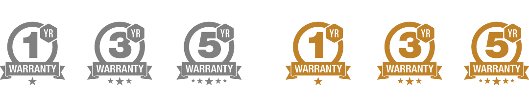 1-5 year warranty badges